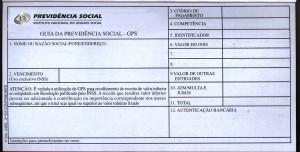 Reprodução da Guia de Previdência Social impressa