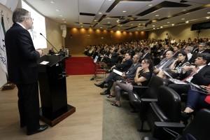 Ministro Miguel Rossetto fala no TCU em evento que debateu sustentabilidade da Previdência. Foto: Erasmo Salomão/MTPS. Mais fotos